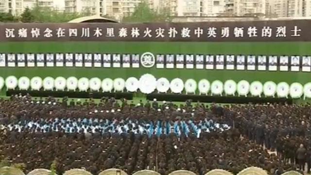 四川举行木里森林火灾扑救中英勇牺牲烈士悼念活动