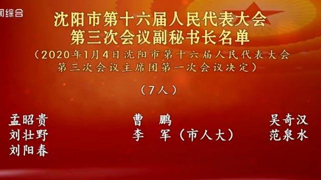 沈阳市第十六届人民代表大会第三次会议副秘书长名单