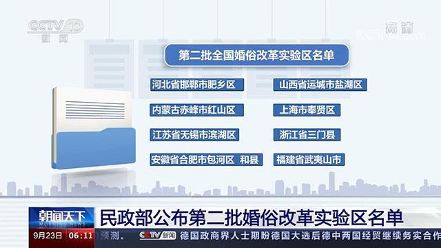 民政部公布第二批婚俗改革实验区名单